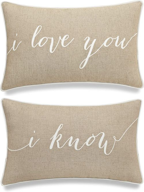 "EURASIA DECOR DecorHouzz I Love u I Know Set of 2 Pcs Embroidered Pillow Case Pillow Cover Decorative Pillow Cushion Cover 12""x20"" Couple Wedding Anniversary (Linen)"