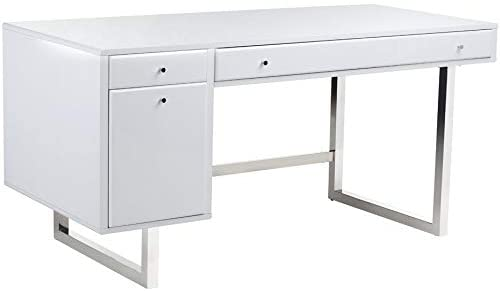 White Desk Modern Contemporary Rectangular MDF Metal Steel Wood Drawers Includes Hardware