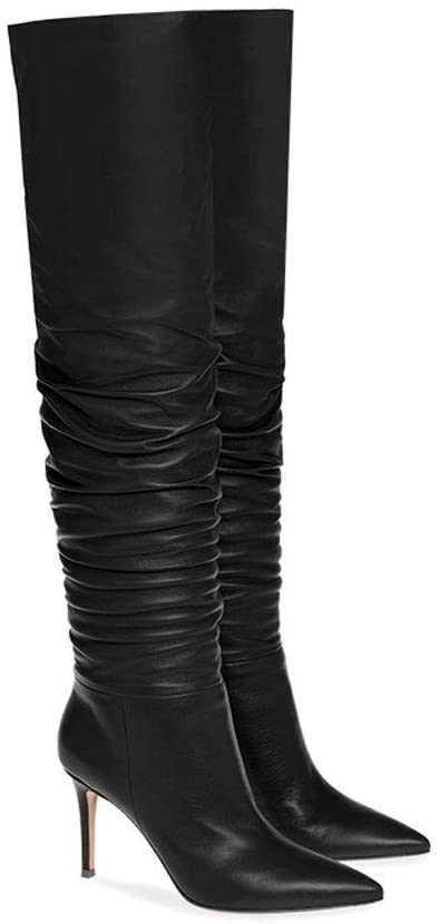 8. EDTEPF Womens Over Knee High Heel Pointed Ruched- Winter Dress Boots
