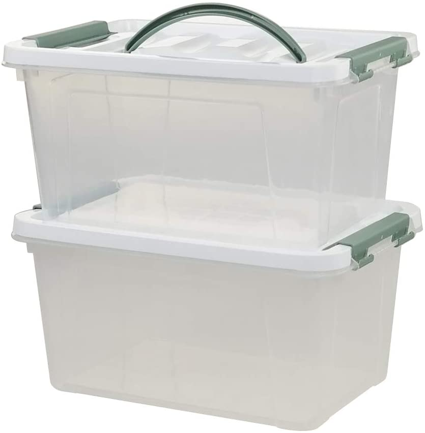 1. Saedy 6 Quart Clear Plastic Multipurpose Handled Storage Box with Lid, 2-Pack