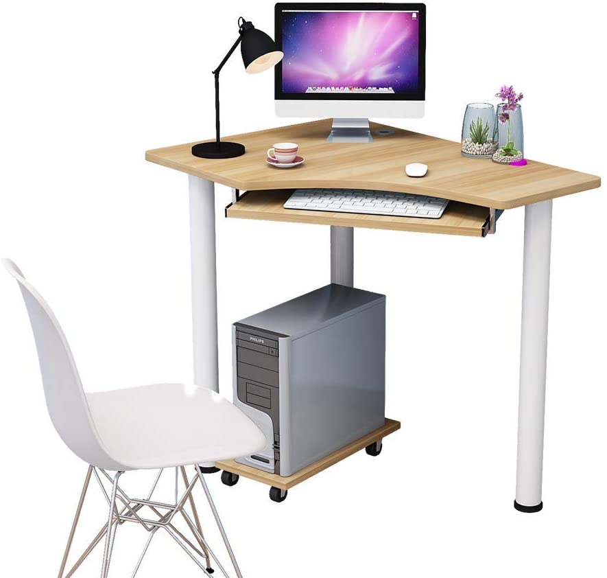 VBARV Corner Computer Desk,Wood Compact Home Office Desk,Laptop PC Table Writing Study Table,Workstation with Smooth Keyboard Tray & Storage Shelves -