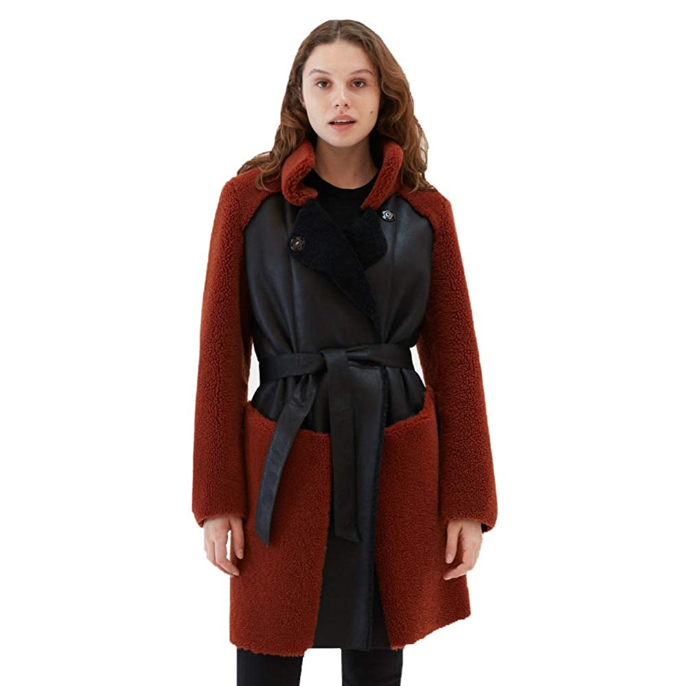 1. Women Casual Shearling Coat Turkey Wool Coat Long