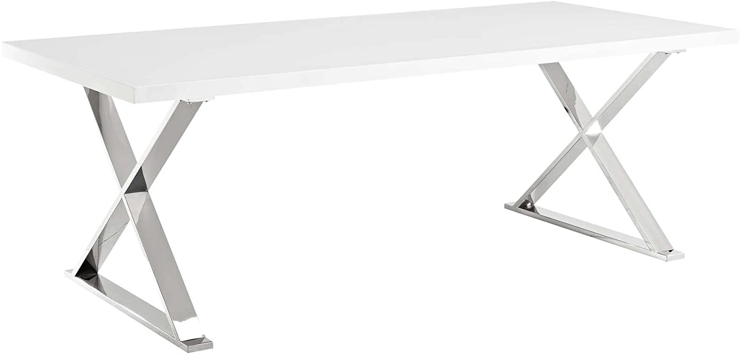 """Modway Sector 87"""" Modern Dining Table with Gold Stainless Steel Metal X-Base in White Gold"""
