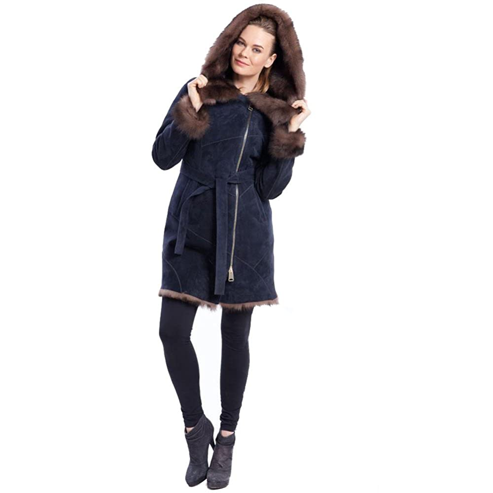 7. Blue Genuine Leather Shearling Sheepskin Jacket