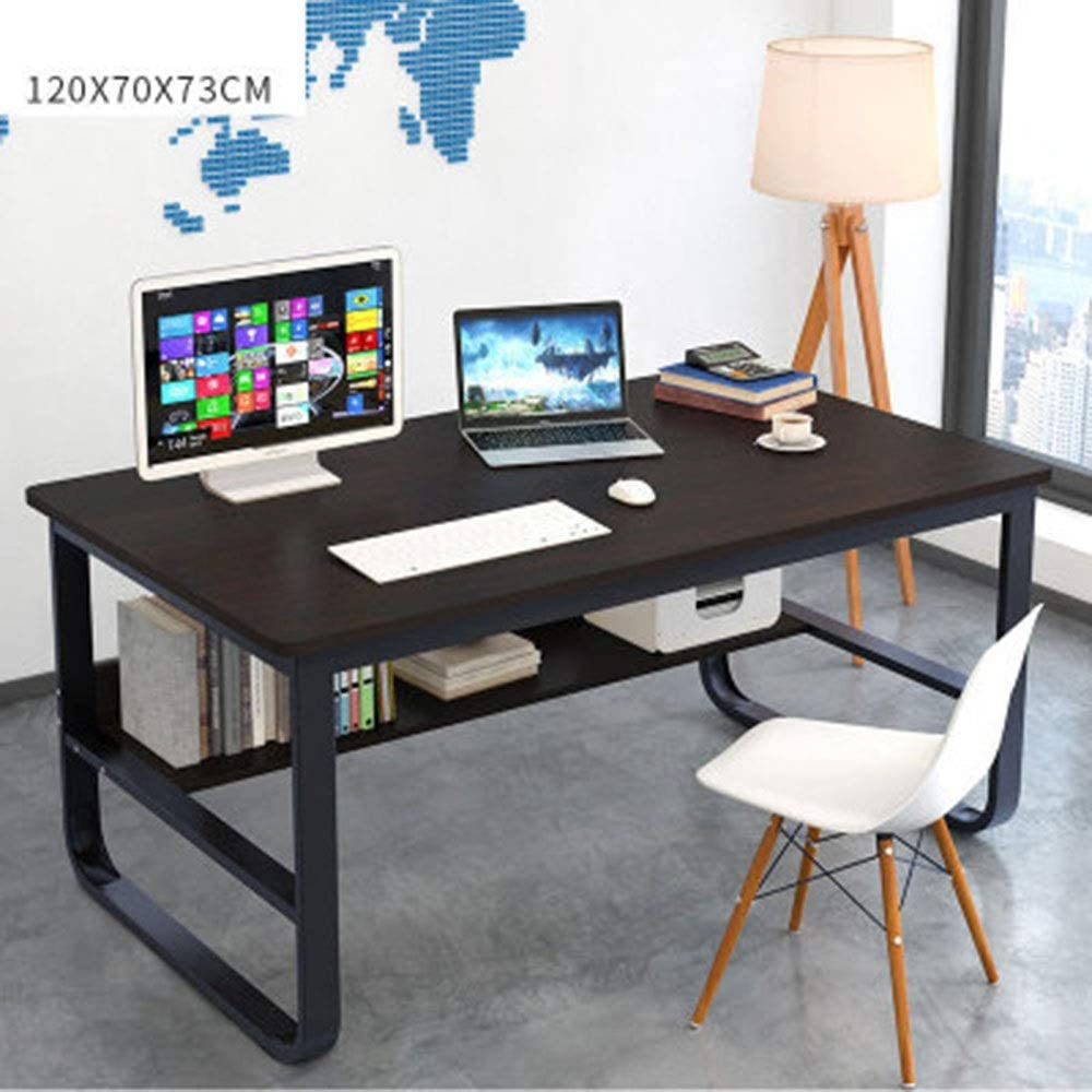 Computer Desk PC Laptop Study Table Workstation for Home and Office Meeting Table, Simple Small Computer desks for Small Spaces (Color : Black/Black Frame, Size : 120x70x73cm) -