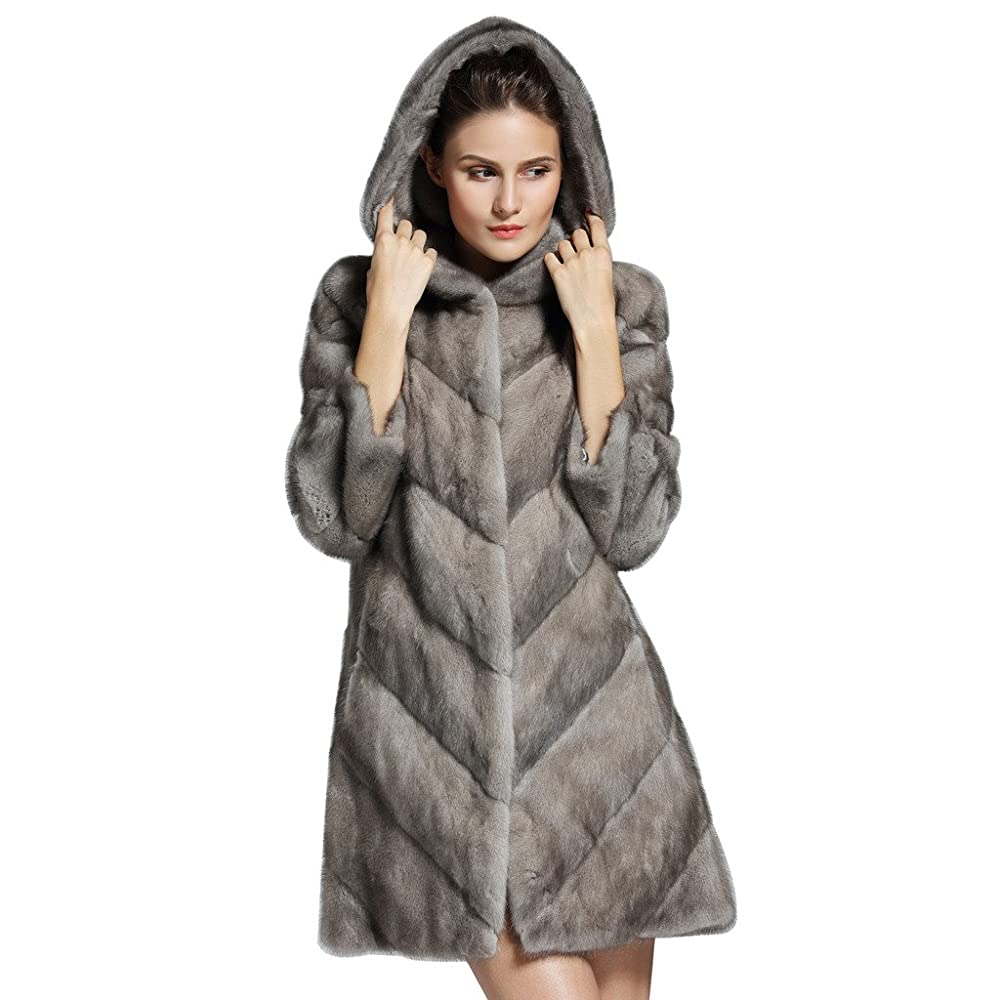 6. YR Lover Women's Whole Skin Long Mink Fur Hooded