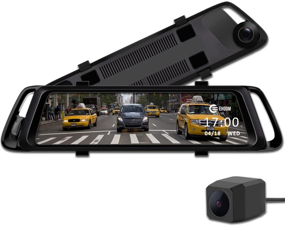 "EHOOM A10 9.88"" Full Touch Screen HD Mirror Dash Camera, Dual Lens Reversing Backup Cam, Car DVR with FHD 1080P FrontCam and HD 720P Rear Cam, Super Night Vision, WDR, HDR, Zero Blind Area - Black"