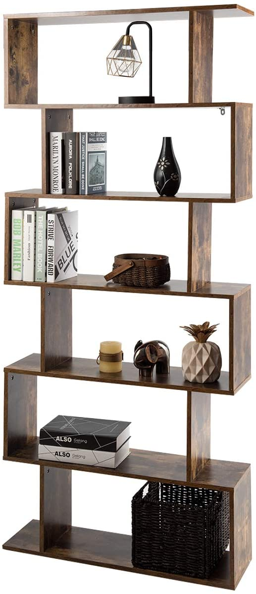 Tangkula 6 Shelf Bookcase, Modern S-Shaped Z-Shelf Style Bookshelf, Multifunctional Wooden Storage Display Stand Shelf for Living Room, Home Office, Bedroom, Bookcase Storage Shelf (Coffee)