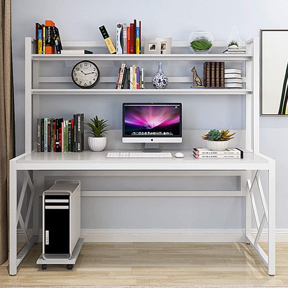 Qiupei Laptop Desk Workstation with Metal Frama Home Office Computer Table Study Writing Desk Compact Home Office Workstation (Color : White/White Frame, Size : 120x60x158cm) -