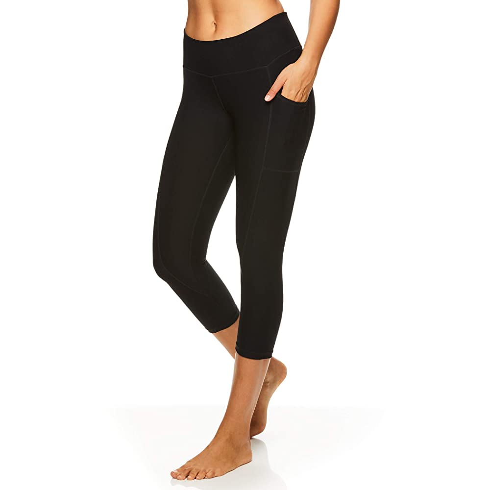 Reebok Women's Printed Capri Leggings With Mid-Rise Waist | Capri Yoga Pants