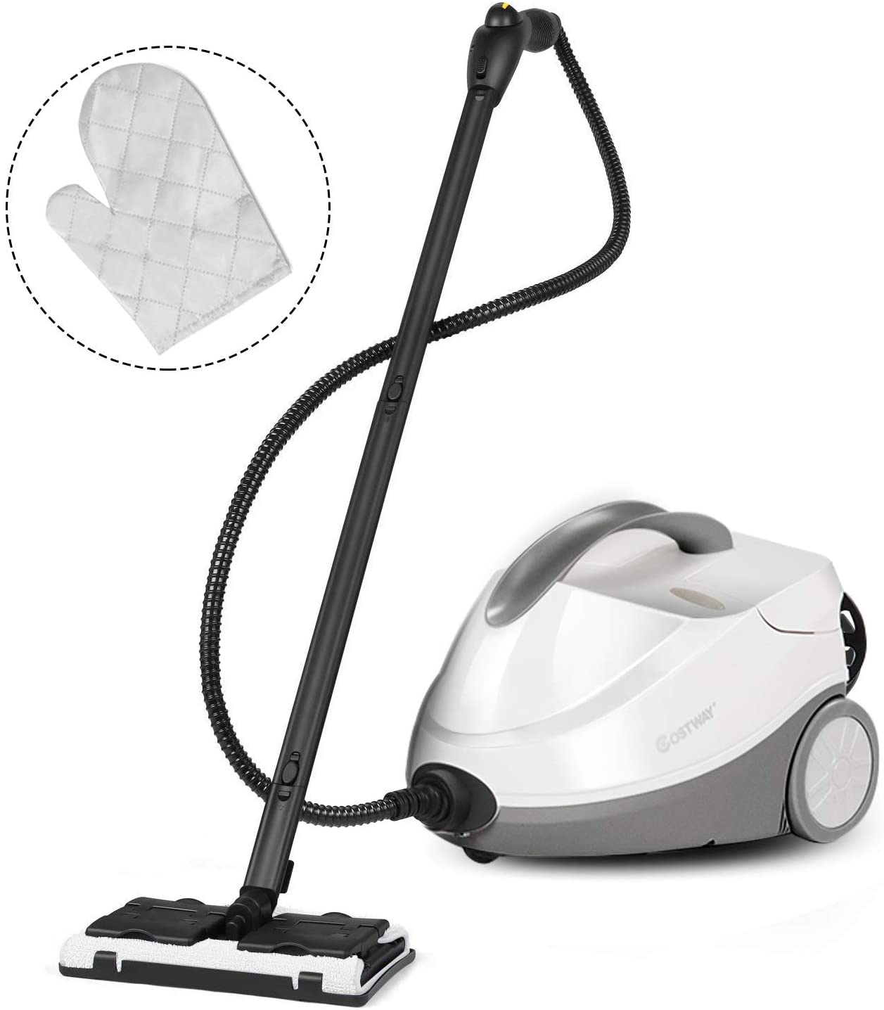 COSTWAY Multipurpose Steam Cleaner with 17 Accessories, 2000W Heavy Duty Steamer Chemical-Free Cleaning, 1.5L Dual-Tank Cleaning Machine for Carpet, Floors, Windows, and Cars