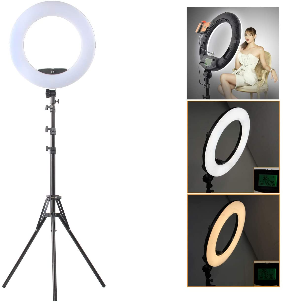 HULYZLB LED Ring Light18''/45CM Dimmable LED Ring Light with Stand, Camera Photo Video Lightning Kit, 96W 5500K/ YouTube/Video Shooting -
