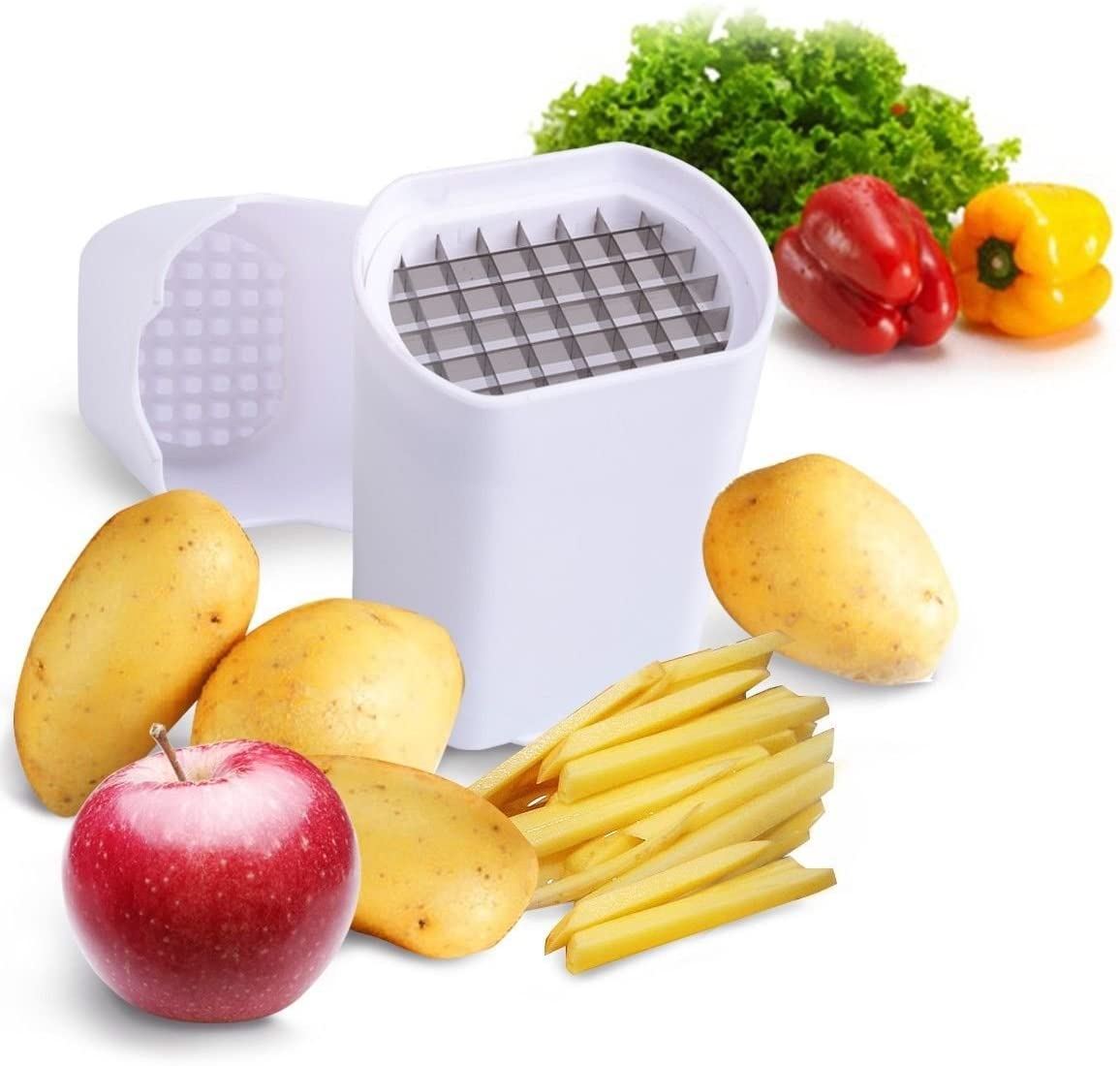 Perfect Fries One Step Natural French Fry Cutter Vegetable Fruit Durable Potato Make fries from almost any vegetable. Very easy to clean as it is dishwasher safe.