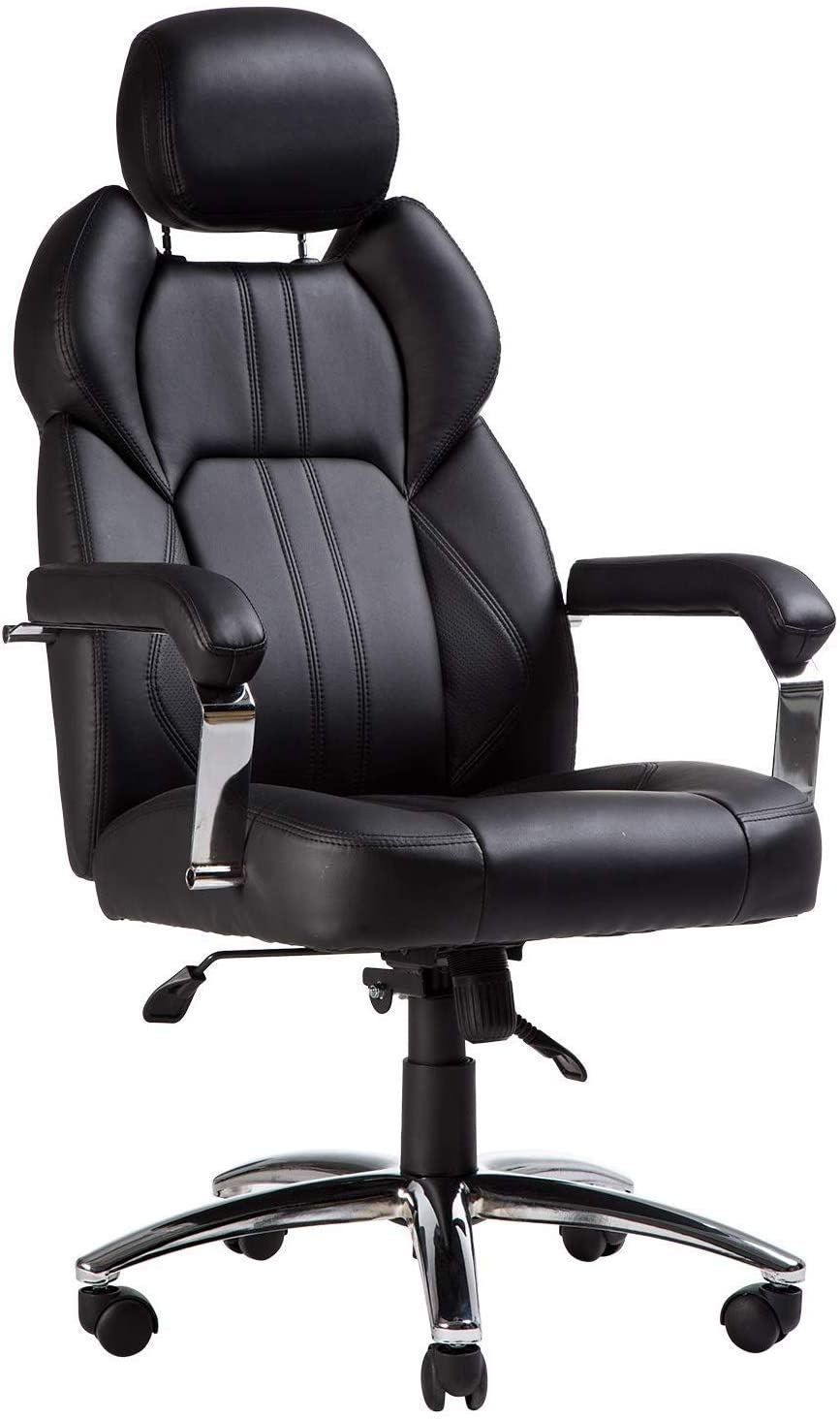 TOPSKY Executive Large Leather Chair with Adjustable Headrest High Back New Black