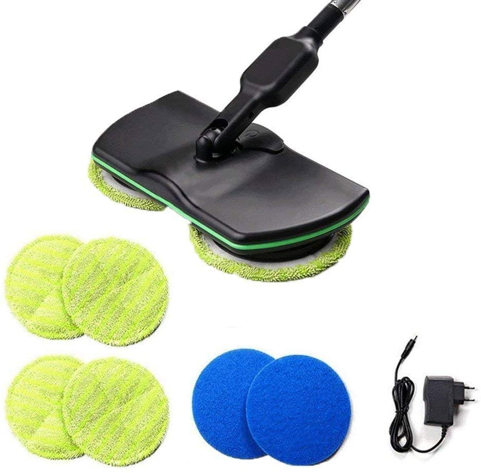 Wireless Electric Spin Mop Cordless Floor Mop Rechargeable Powered Floor Cleaner Scrubber with Adjustable Handle and 4Microfiber Pads and 4Polisher