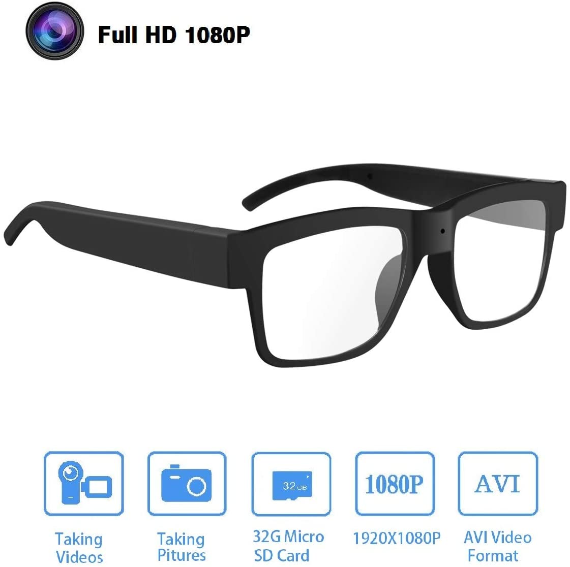 10. Camera Glasses 1080P, HD Video Glasses