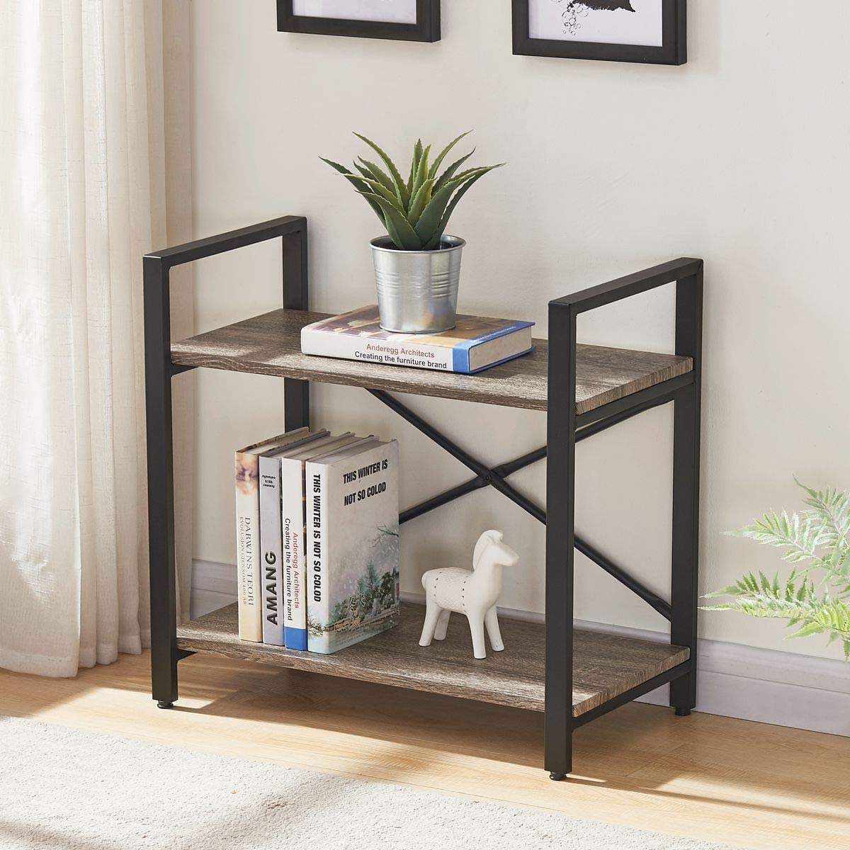 BON AUGURE Small Bookshelf for Small Space | Low Bookcase