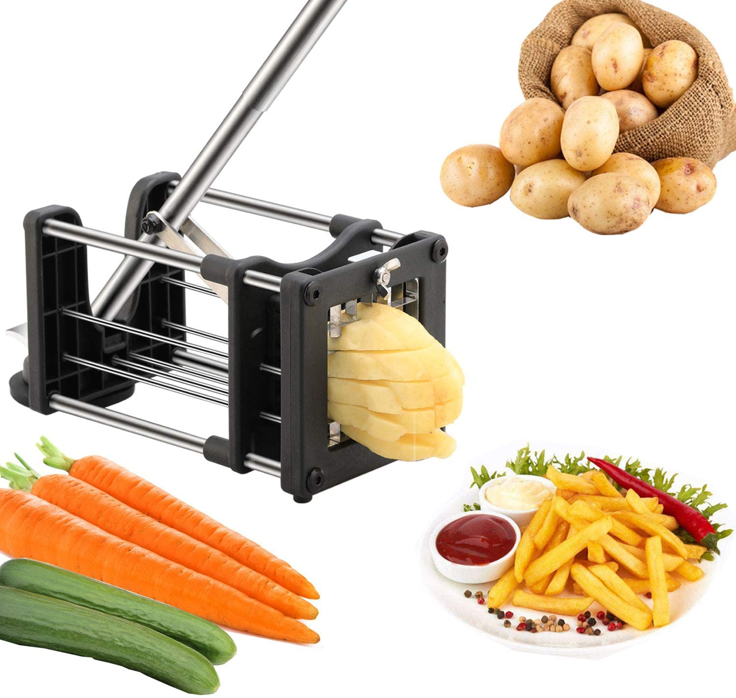 French Fry Cutter, Meshist Potato Cutter with Upgraded Commercial Stainless Steel Blades, Easy to Clean Potato slicer Perfect for Potatoes, Carrots, Cucumbers