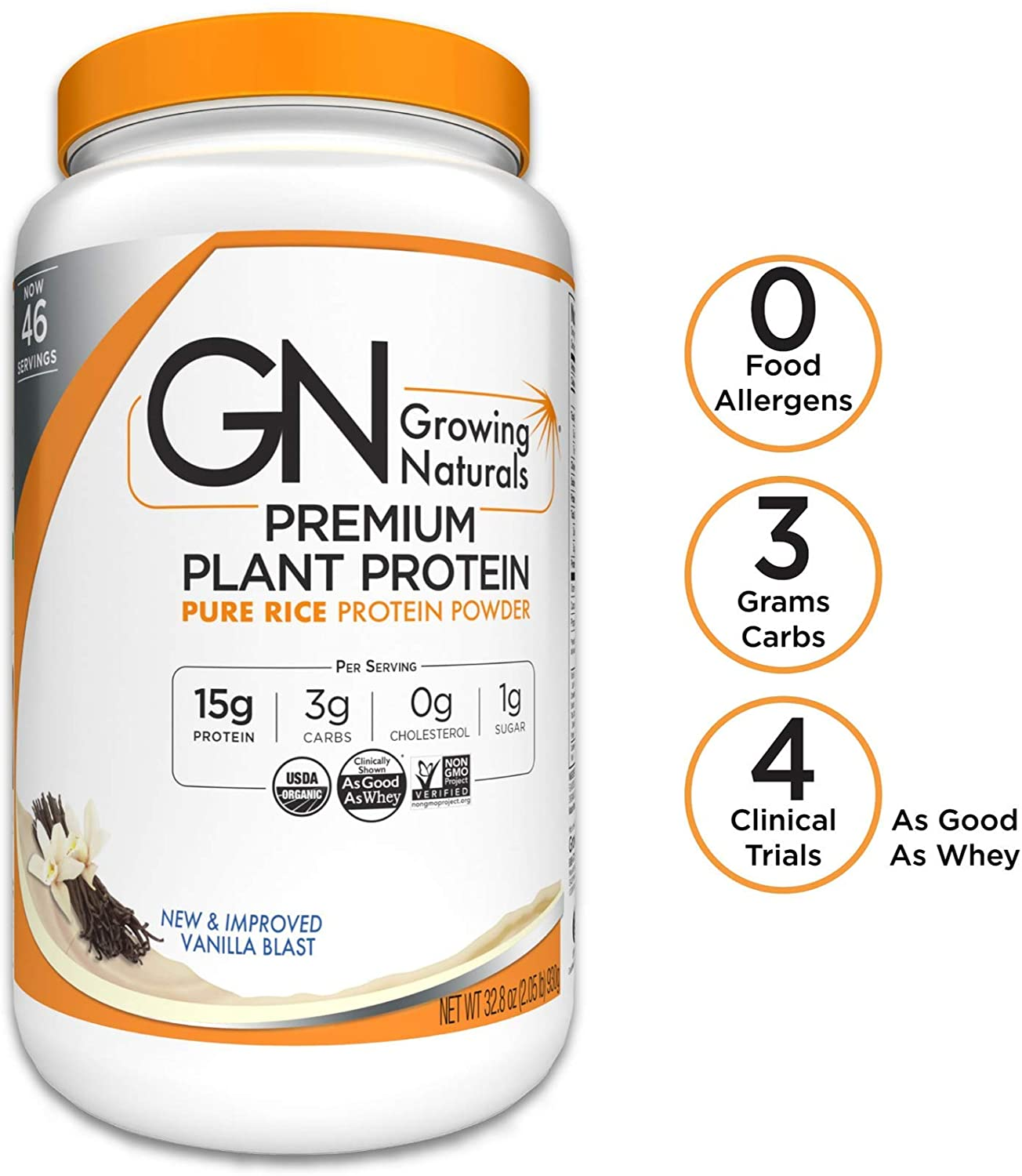 Growing Naturals Organic Rice Protein Powder, Vanilla Blast