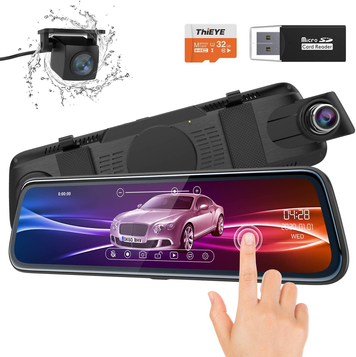 ThiEYE Backup Camera Mirror Dash Cam 1080P