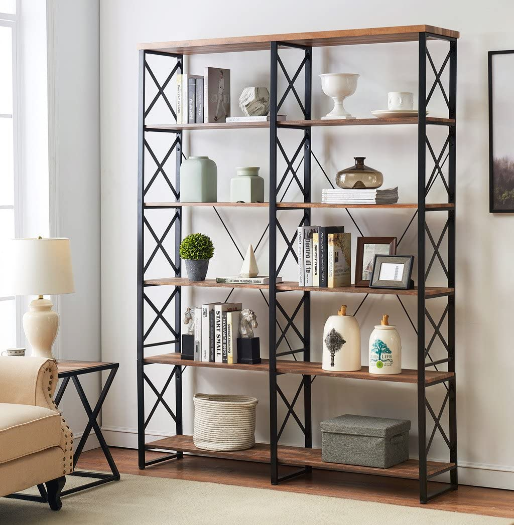 "O&K FURNITURE 80.7"" Double Wide 6-Shelf Bookcase, Industrial Large Open Metal Bookcases Furniture, Etagere Bookshelf for Home & Office, Vintage Brown"