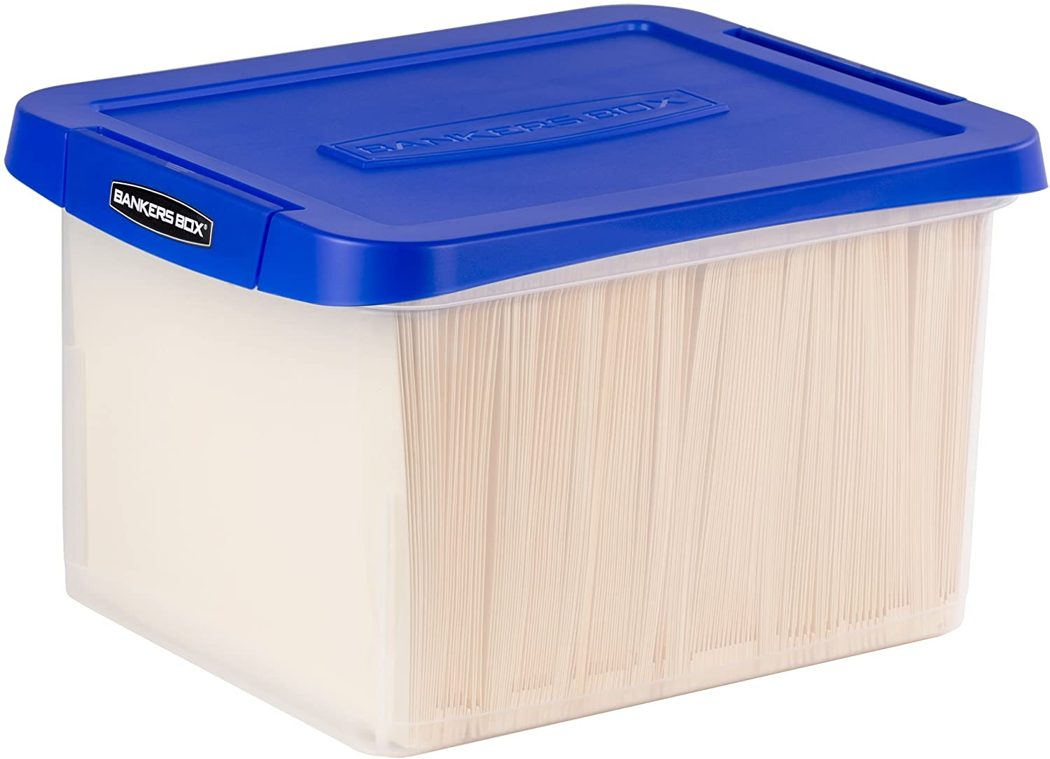 2. Bankers Box Heavy Duty Plastic File Box with Hanging Rails