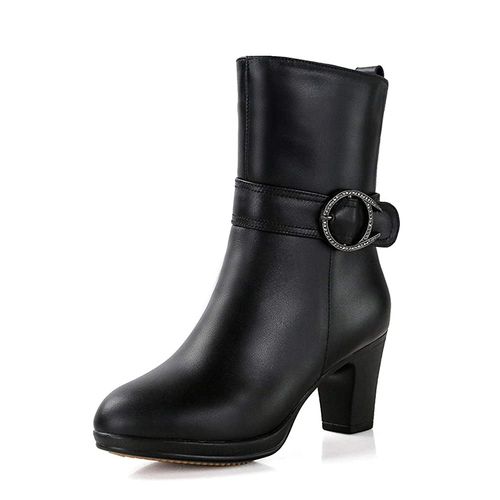 4. Ankle Boots Women Genuine Leather Natural Wool Boots- Winter Dress Boots