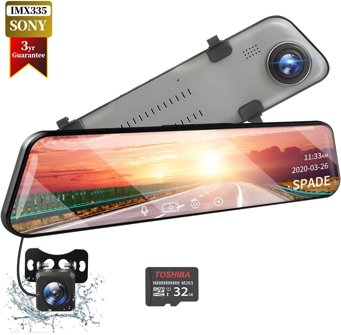 SPADE Mirror Dash Cam Backup Camera 12'' IPS Full