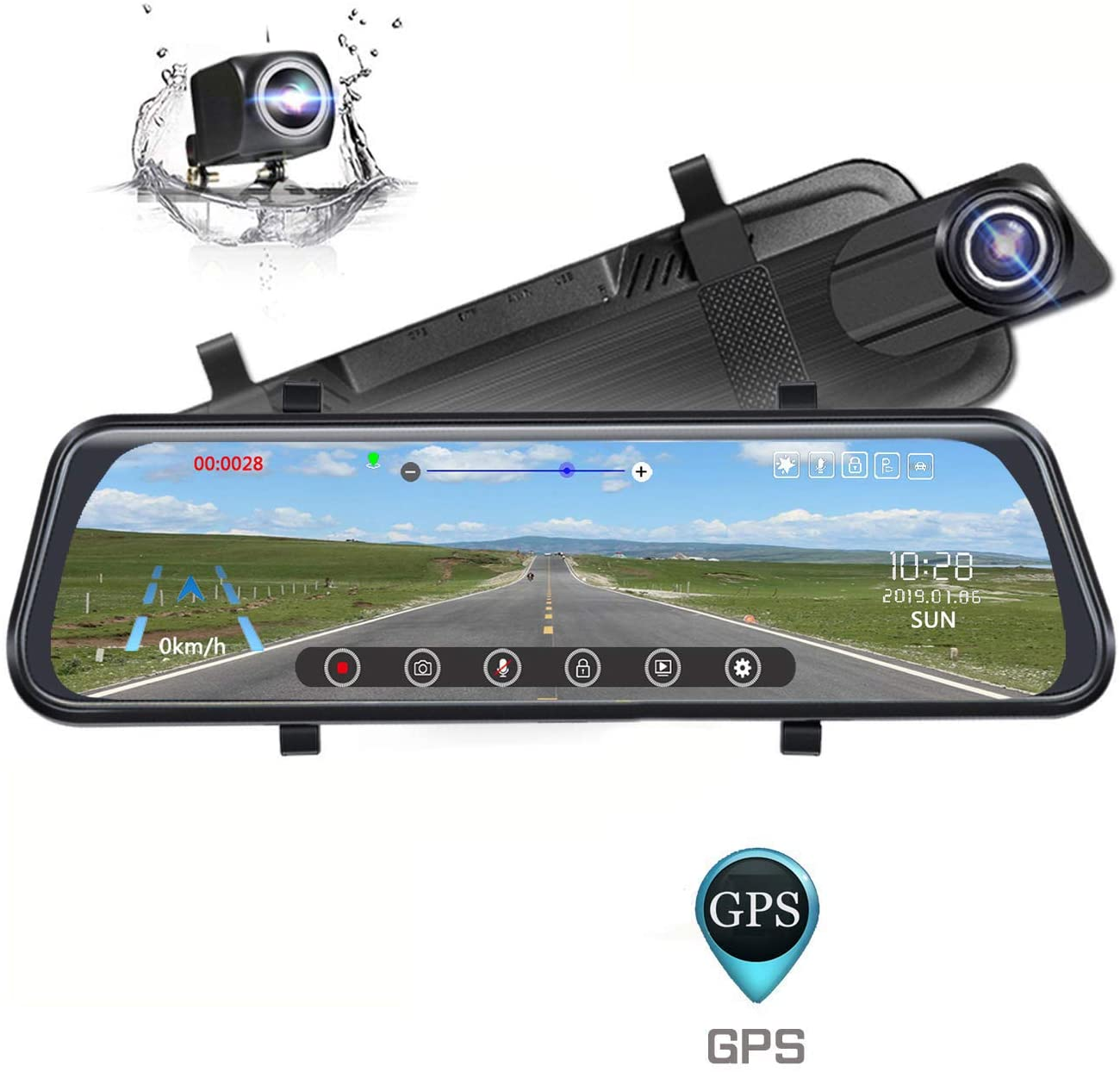 Mirror Dash Cam, Poaeaon Backup Camera 10inch Car Dash Camera Touch Screen, 170°1296P Front and 150° 1080P Rear View Camera Dual Lens with G-Sensor, 24 Hour Parking, GPS