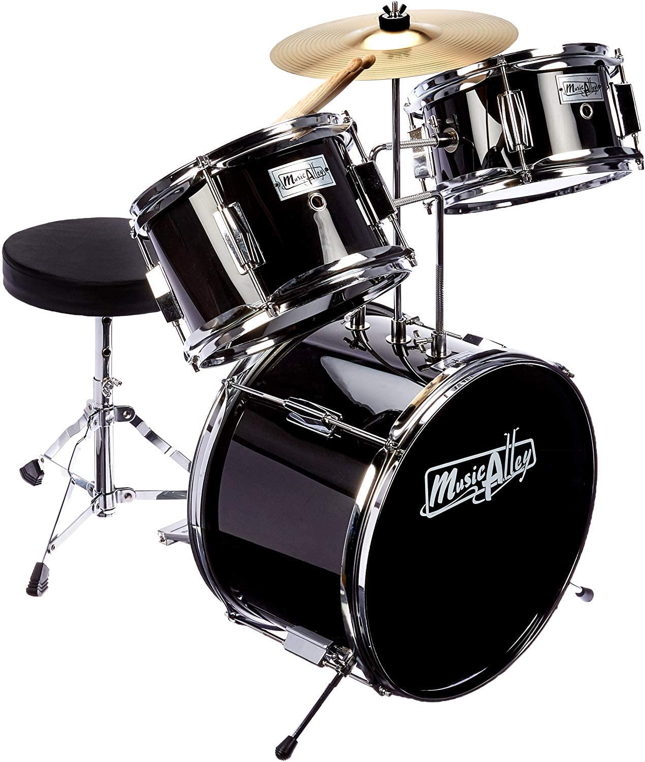 Music Alley 3 Piece Kids Drum Set with Throne | Drums For Beginner