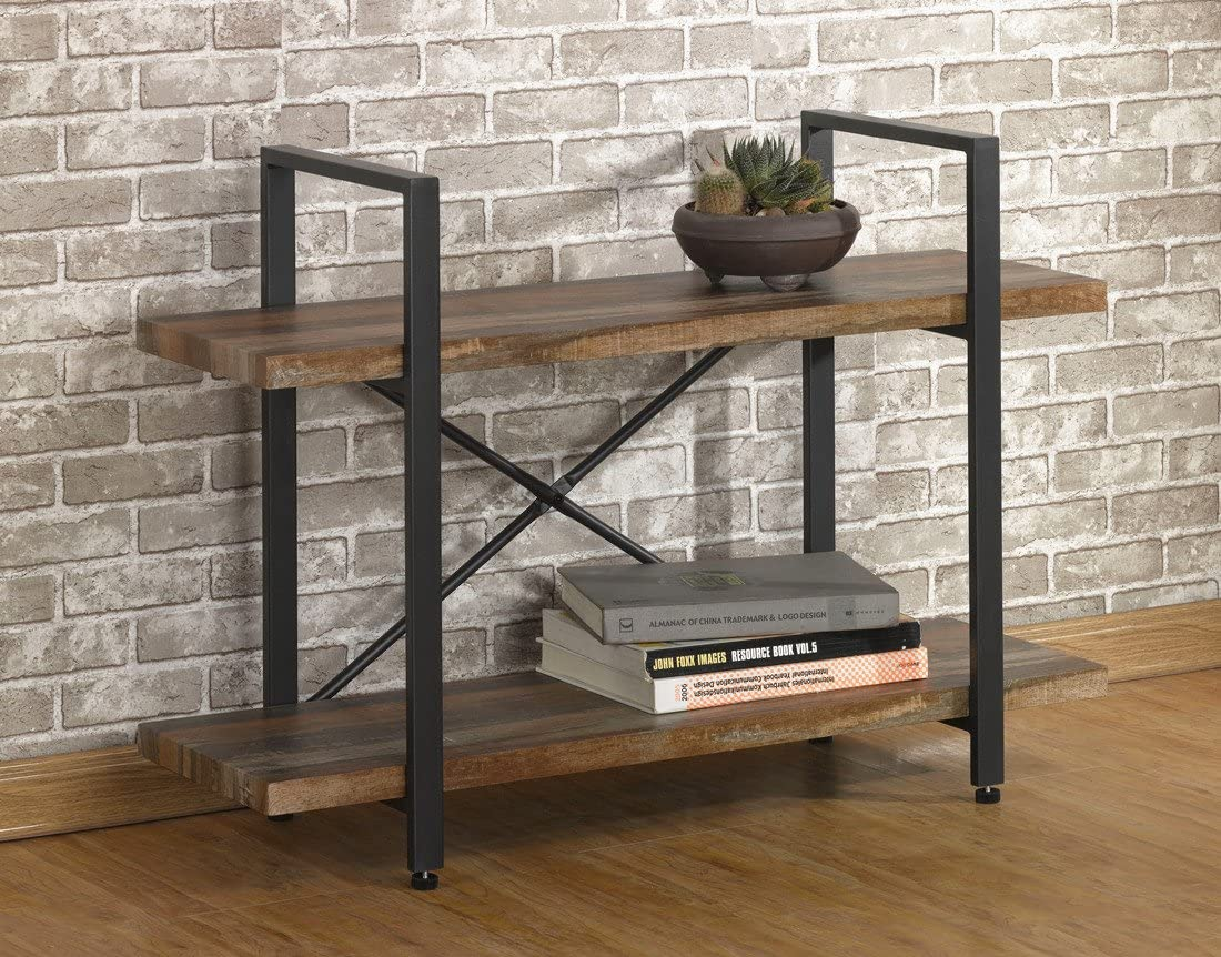 O&K FURNITURE 2-Tier Rustic Wood and Metal Bookshelves | Low Bookcase