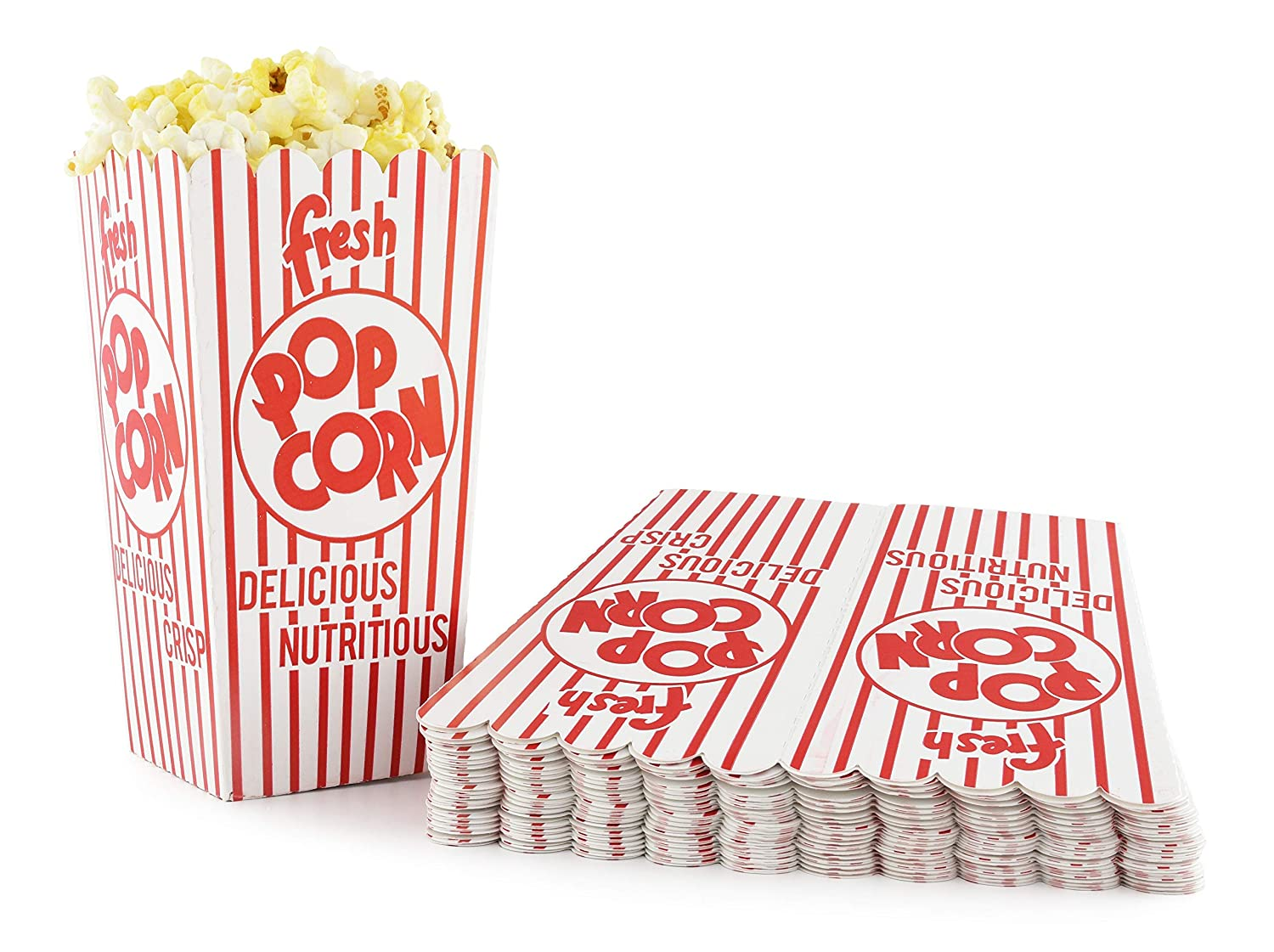 Snappy 44-E Red & White Open Top Popcorn Boxes