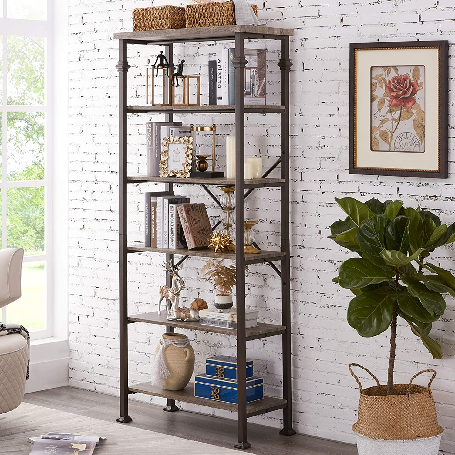 Hombazaar 6-Tier Tall Bookshelf, Vintage Industrial Metal Bookcase Display Rack and Storage Organizer for Living Room, Grey Oak