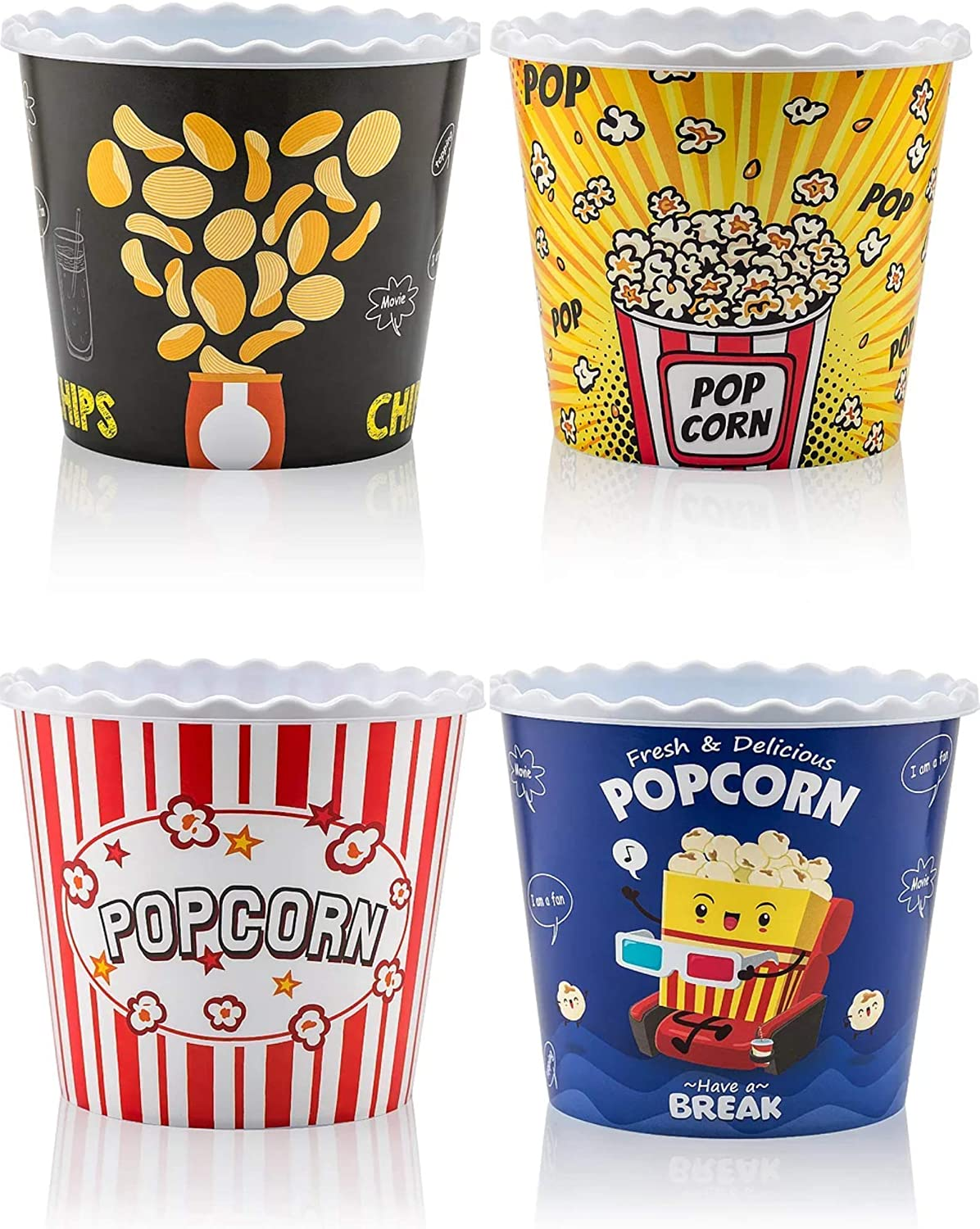 Modern Style Reusable Plastic Popcorn Containers