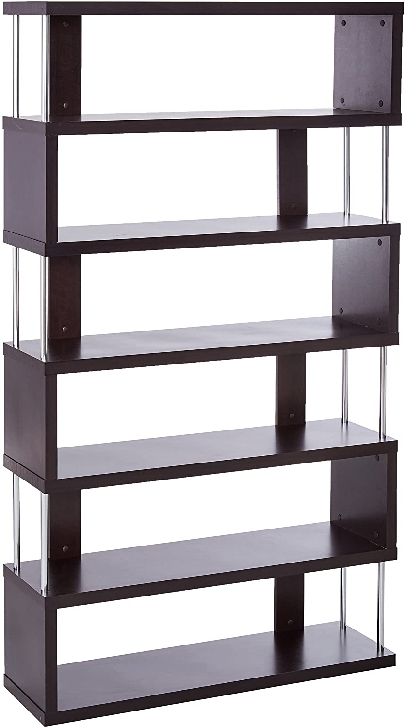 Baxton Studio Barnes 6-Shelf Modern Bookcase, Dark Brown