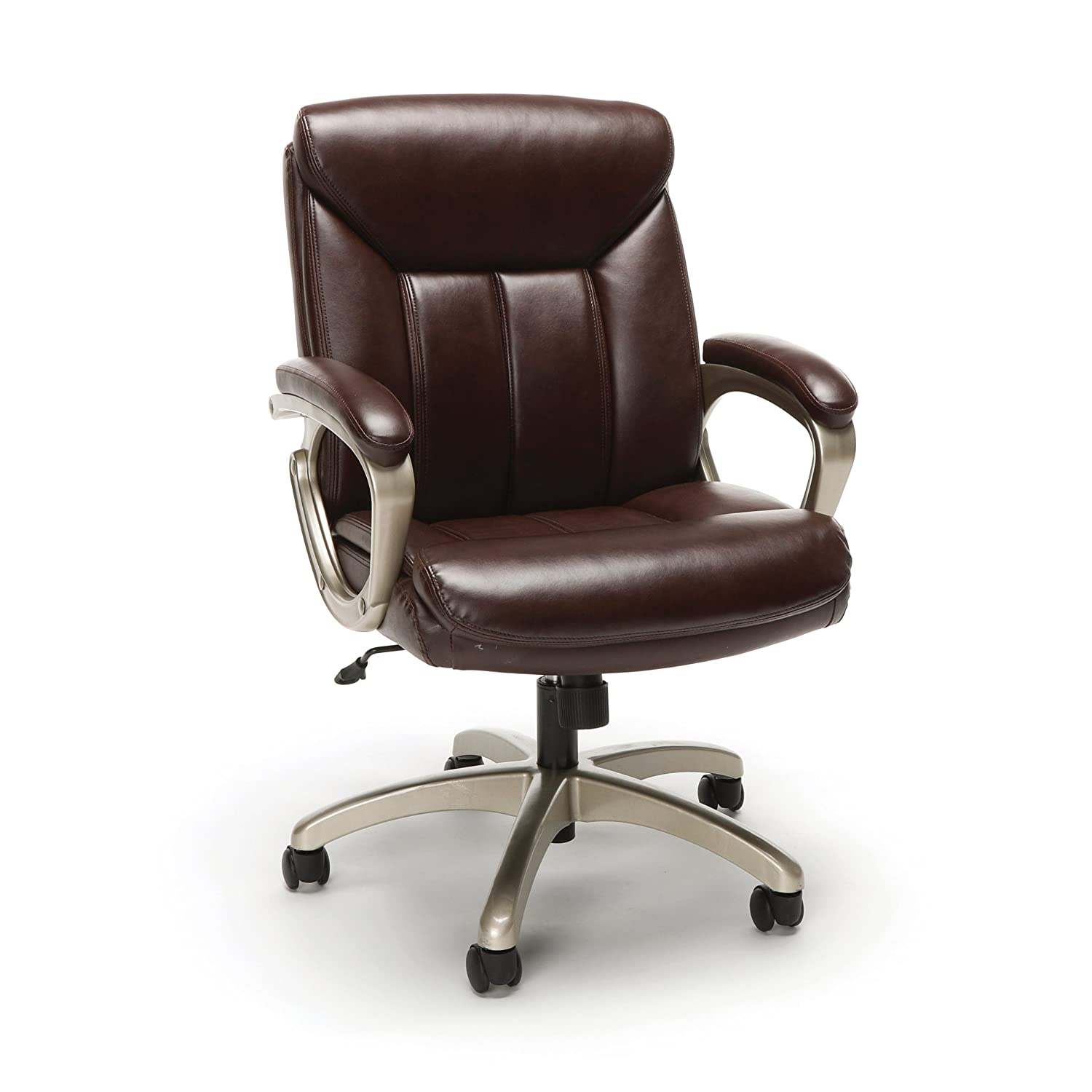 OFM Essentials Collection Executive Office Chair, in Brown with Champagne Frame (ESS-3020-BRN)