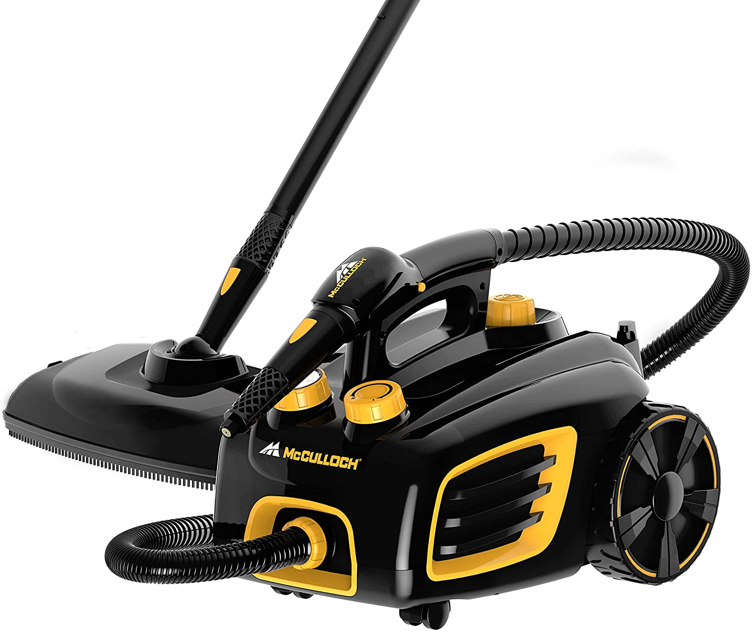 McCulloch MC1375 Canister Steam Cleaner with 20 Accessories, Extra-Long Power Cord, Chemical-Free Cleaning for Most Floors