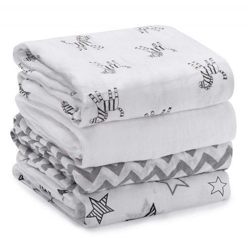 Momcozy Muslin Baby Swaddle Blankets, Large Neutral Receiving Blankets