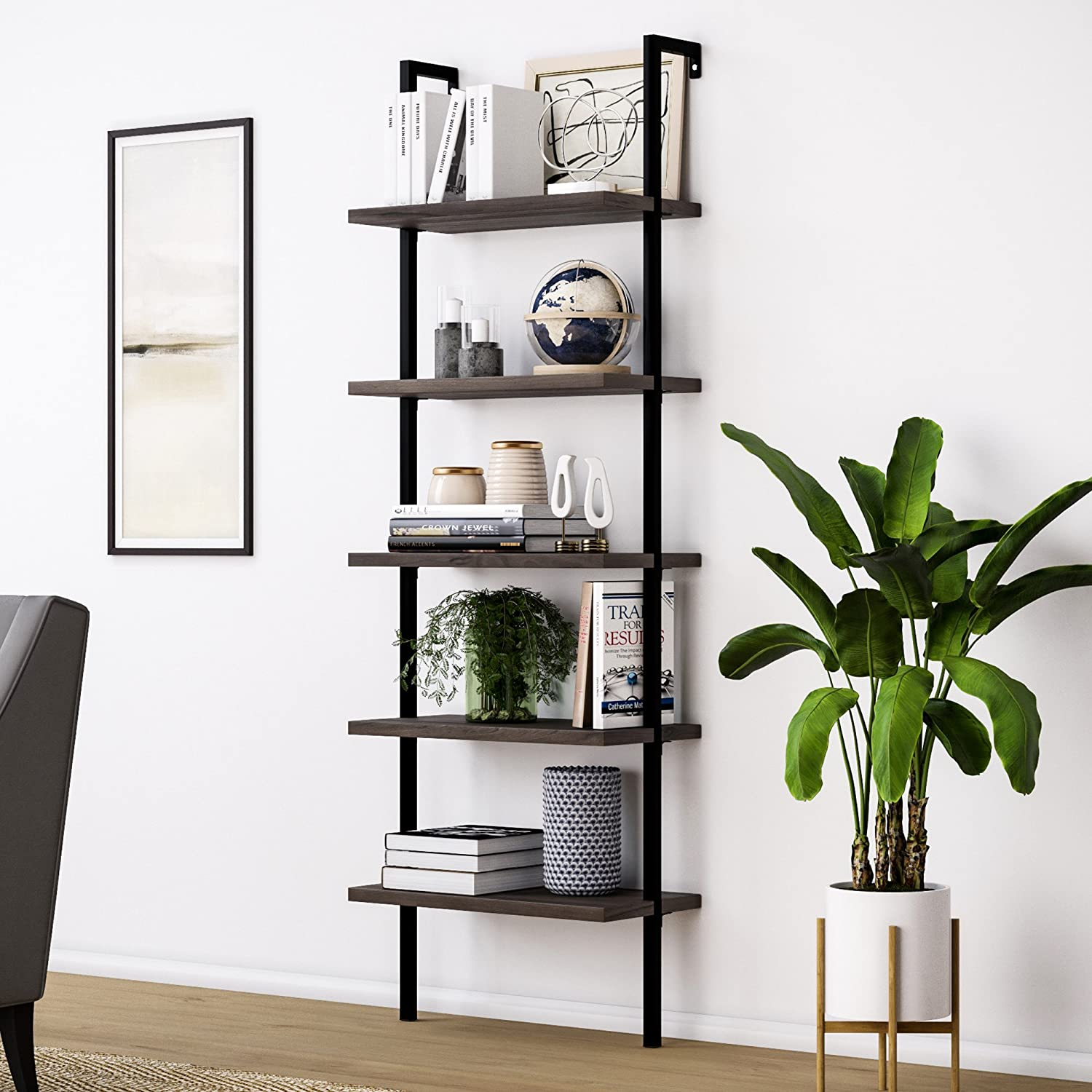 Nathan James Theo 5-Shelf Wood Ladder Bookcase