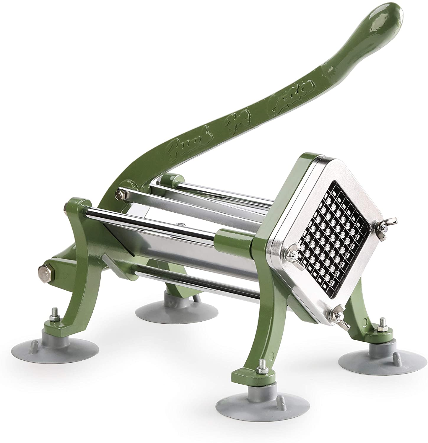 """New Star Foodservice 42306 Commercial Grade French Fry Cutter with Suction Feet, 3/8"""", Green"""