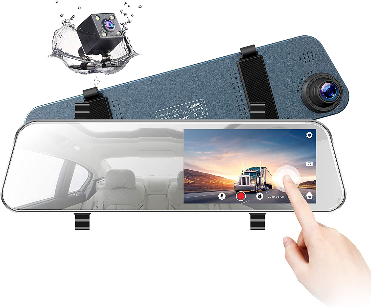 "TOGUARD Backup Camera 5"" LCD Mirror Dash Cam Rear View Mirror Camera Ultra-Thin Touch Screen Full HD 1080P Dash Cam Front and Rear Dual Lens with Waterproof Rear Camera"