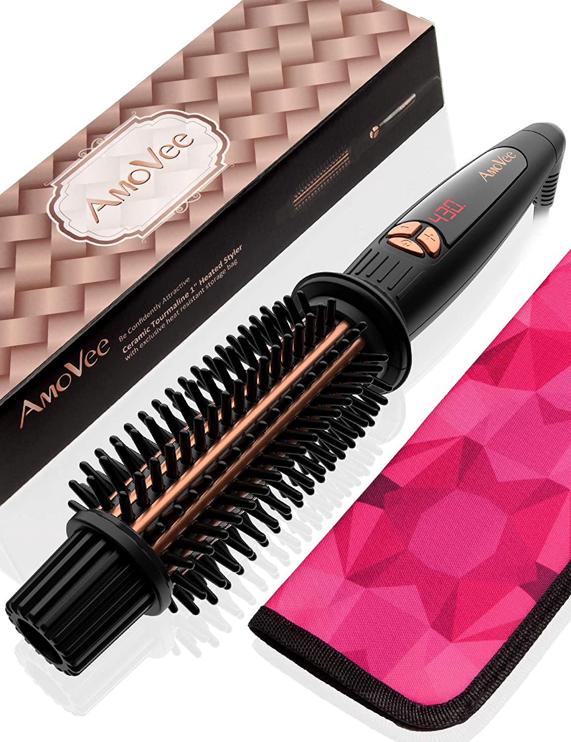AmoVee Curling Iron Brush Ceramic