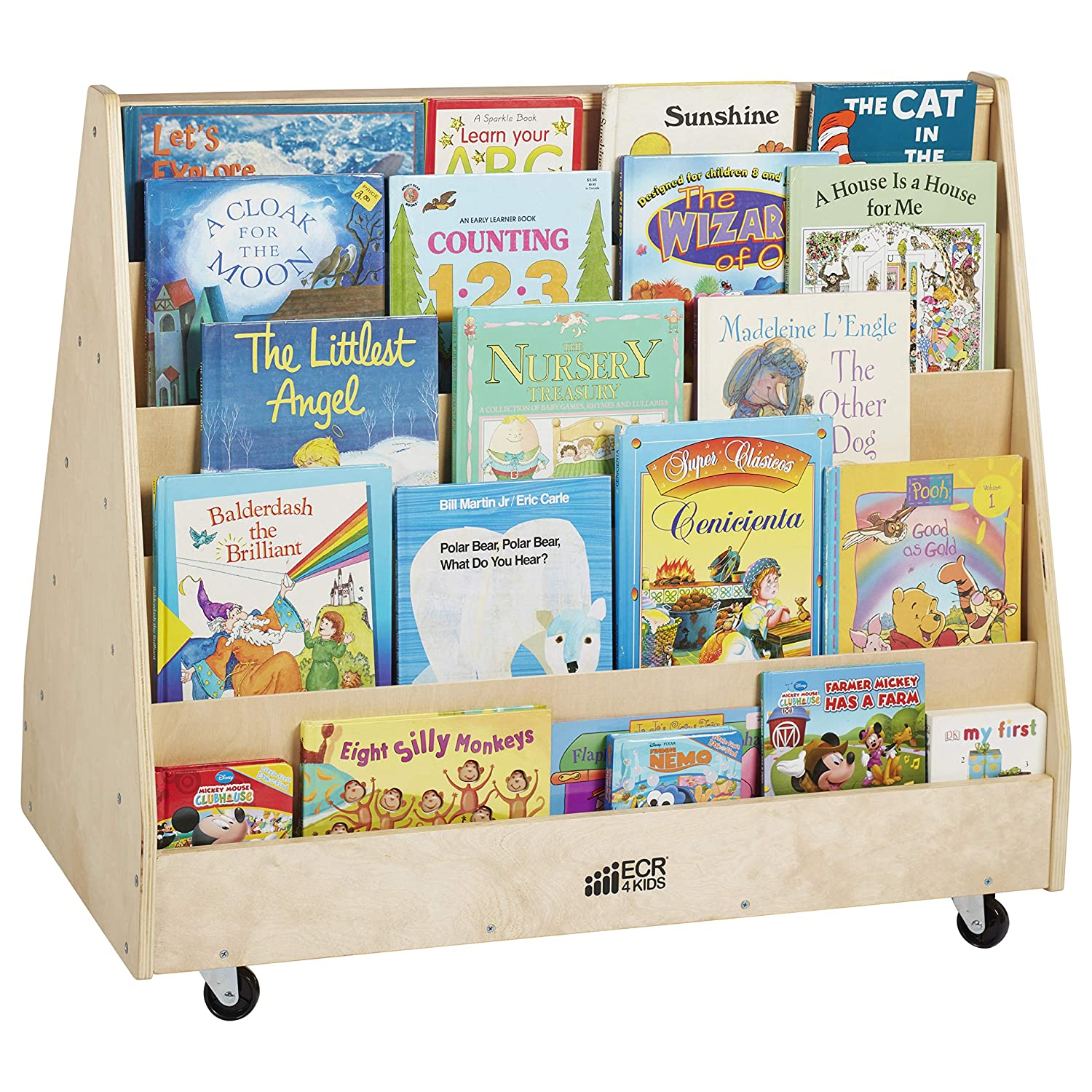 ECR4Kids ELR-0335 Birch Hardwood Double-Sided Book  | Low Bookcase