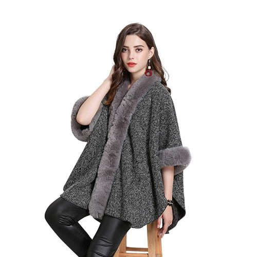 10. FOLOBE Women Faux Fur Cloak Poncho Cape