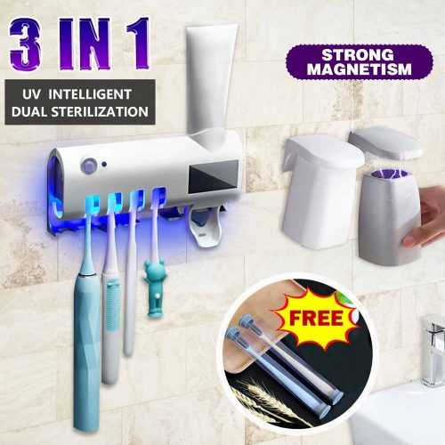 3 In 1 UV Light Sterilizer Automatic Auto Toothpaste Dispenser Toothpaste