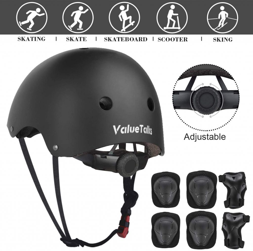 ValueTalks Kid's Protective Gear Set, 7 in 1 Kinds Adjustable Helmet Suitable for Ages 3-10 Years Toddler Boys Girls, Sports Kits Knee Elbow Wrist Pads for Bike Bicycle Skateboard Scooter