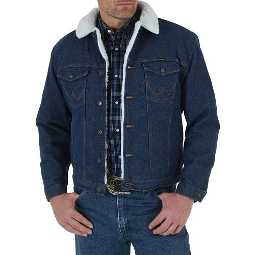 Wrangler Men's Western Style Lined Denim Jacket | Fur Clothing