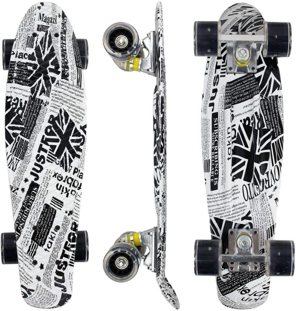 """Geelife 22"""" Complete Mini Cruiser Skateboard for Beginners Youths Teens Girls Boys with LED Wheels"""
