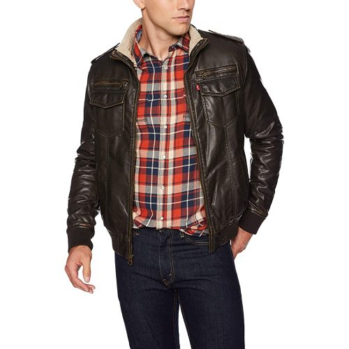 Levi's Men's Vintage Deer Faux Leather Aviator Bomber | Fur Clothing