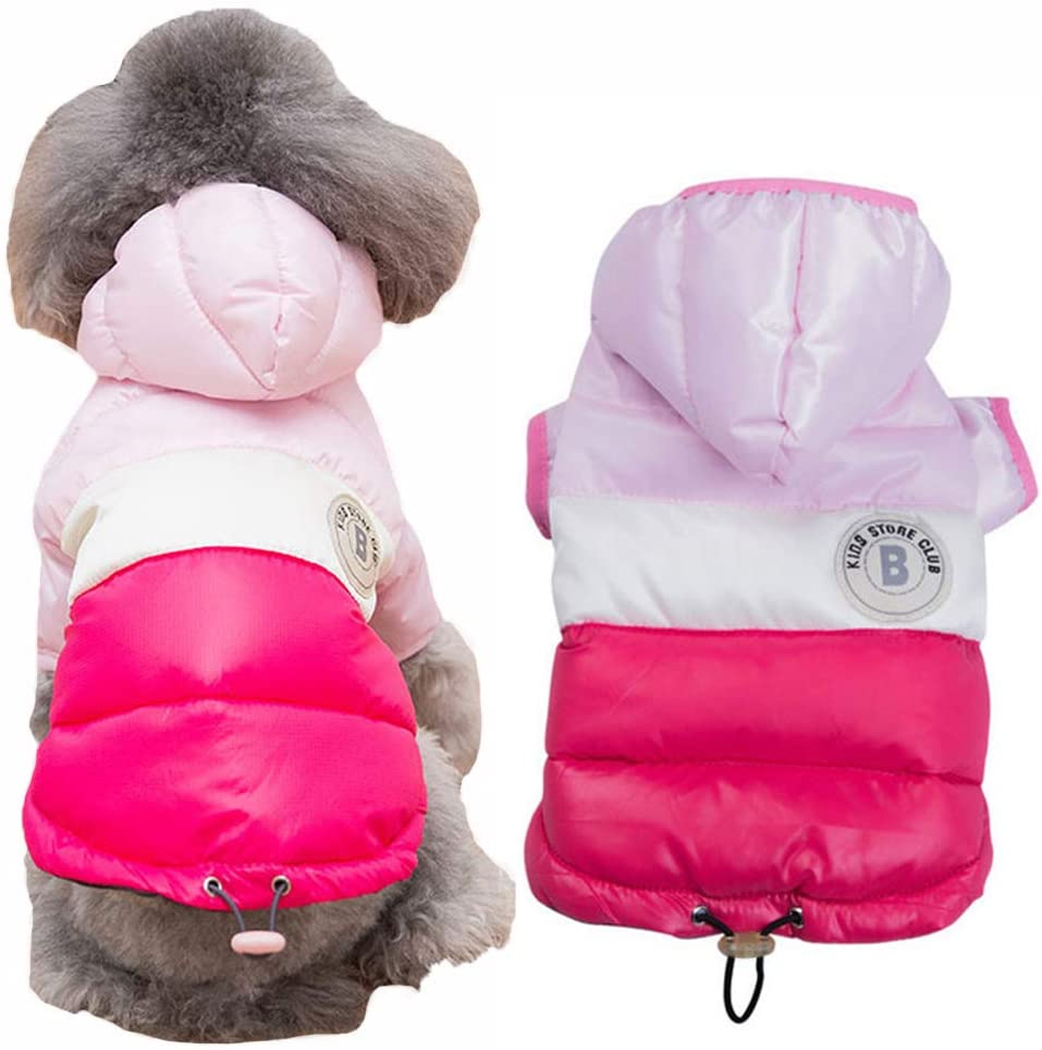 DOGGYZSTYLE Winter Dog Hoodie Coat Waterproof Down Jacket Puppy Cat Windproof Cold Weather Coat Pet Clothes